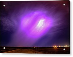 Acrylic Print featuring the photograph Dying Late Night Supercell 016 by NebraskaSC