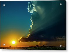 Acrylic Print featuring the photograph Dying Nebraska Thunderstorms At Sunset 068 by NebraskaSC