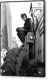Dylan In Sheridan Square Park Acrylic Print by Fred W. McDarrah