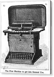 Early Typewriter Acrylic Print by Hulton Archive