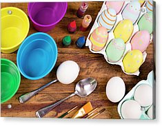 Easter Eggs Being Decorated On Wooden Acrylic Print by Fstop123