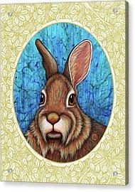 Eastern Cottontail Portrait - Cream Border Acrylic Print
