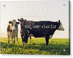 Acrylic Print featuring the digital art Eat Mor Chickn by ISAW Company