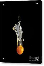 Egg Yolk Dripping, Falling, On Black Acrylic Print