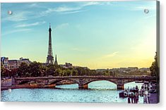Eiffel Tower And Seine River Panoramic Acrylic Print