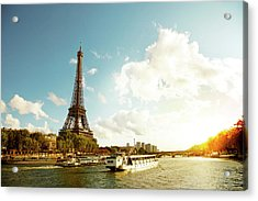 Eiffel Tower And The River Seine Acrylic Print by Vintagerobot