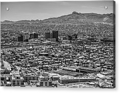 Acrylic Print featuring the photograph El Paso, Texas And Ciudad Juarez Skyline Black And White by Chance Kafka