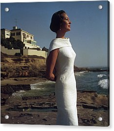 Elegance On The Beach Acrylic Print by Slim Aarons
