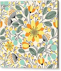 Elegant Seamless Pattern With Yellow Acrylic Print