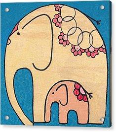 Elephant And Child On Blue Acrylic Print
