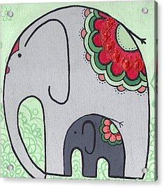 Elephant And Child On Green Acrylic Print