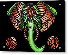 Elephant Head Painting, Sacral Chakra Art, African Tribal Animal Artwork, Zentangle Art Acrylic Print