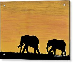 Elephants - At - Sunset Acrylic Print
