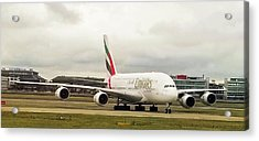 Emirates Airbus A380-800 At London Heathrow Airport Acrylic Print