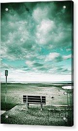 Empty Beach Bench Acrylic Print