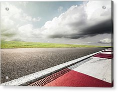 Empty Motor Racing Track Acrylic Print by Yubo