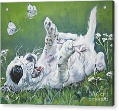 English Setter Puppy And Butterflies Acrylic Print