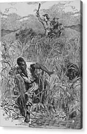 Engraving Of Slave Escape, Mid-19th Acrylic Print by Kean Collection