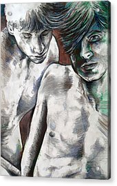 Acrylic Print featuring the painting Entanged Boys by Rene Capone