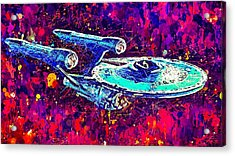 Acrylic Print featuring the mixed media Star Trek Enterprise by Al Matra