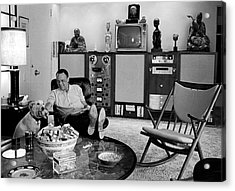 Entertainer Frank Sinatra Relaxing W Acrylic Print by John Dominis