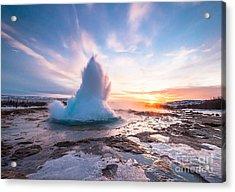 Eruption Of Strokkur Geyser In Iceland Acrylic Print