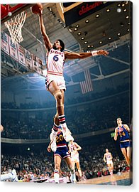 Erving Goes For A Dunk Acrylic Print