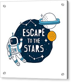 Escape To The Stars - Baby Room Nursery Art Poster Print Acrylic Print