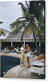 Esther Williams By The Pool Acrylic Print by Slim Aarons