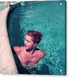 Esther Williams In Pool Acrylic Print by Slim Aarons
