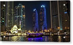 Evening Waterfront Scene, Dubai Marina, Dubai, United Arab Emirates Acrylic Print