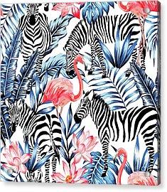 Exotic Pink Flamingo, Zebra On Acrylic Print by Berry2046