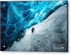 Explorer Inside Ice Cave At Vatnajokull Acrylic Print