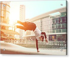 Extreme Parkour In Business Center Acrylic Print