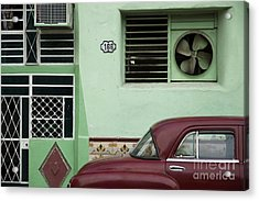 Facade And Oldtimer In Old Havana Acrylic Print