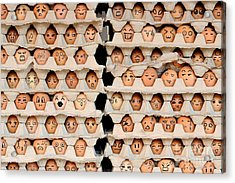 Faces On The Eggs. Differences Faces Acrylic Print