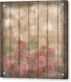 Faded Red Country Roses On Wood Acrylic Print