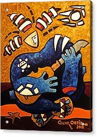 Acrylic Print featuring the painting Fajardo Dreaming by Oscar Ortiz