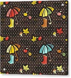Fall Doodle Wallpaper. Autumn Seamless Acrylic Print