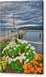 Acrylic Print featuring the photograph Fall Flowers At Seneca Lake Marina by Lynn Bauer