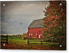 Acrylic Print featuring the photograph Fall Foliage And Red Barm by Joann Vitali