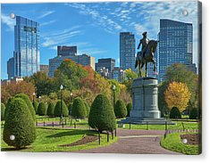 Acrylic Print featuring the photograph Fall Foliage Colors At The Boston Public Garden by Juergen Roth