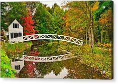 Fall Footbridge Reflection Acrylic Print