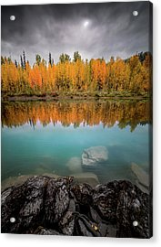 Acrylic Print featuring the photograph Fall Reflection / Flathead River // Glacier National Park  by Nicholas Parker