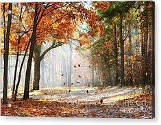 Falling Oak Leaves On The Scenic Autumn Acrylic Print
