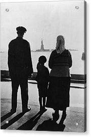 Family Views Statue Of Liberty From Acrylic Print