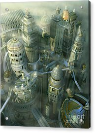 Fantasy 3d City Form Past To Future Acrylic Print