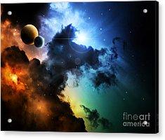 Fantasy Deep Space Nebula With Planet Acrylic Print