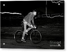 Fashion Man On The Fixed Gear Bike Acrylic Print by Hrynevich Yury