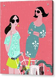 Fashion Woman Holding Trolley Acrylic Print by Luciano Lozano